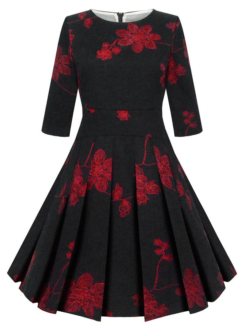 Fancy Vintage Fit and Flare Floral Dress