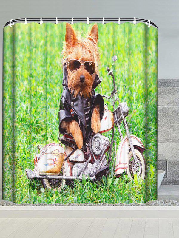 Image of Puppy Motorcycle Water Resistant Bathroom Shower Curtain
