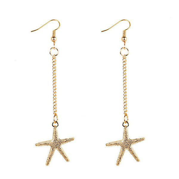 Unique Starfish Drop Chain Earrings