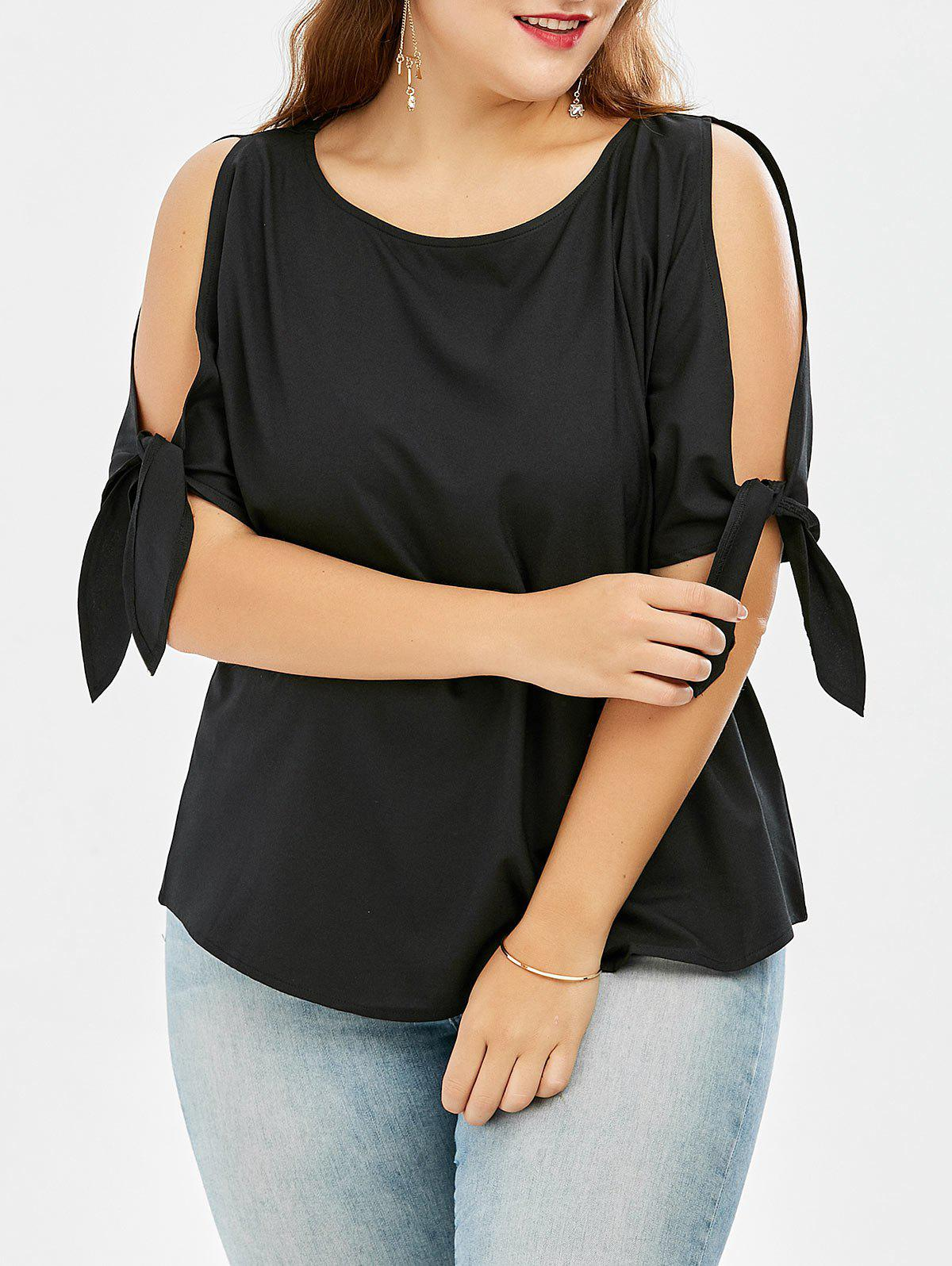 Bowtie Cold Shoulder Chiffon Plus Size TopWOMEN<br><br>Size: XL; Color: BLACK; Material: Cotton Blends,Polyester; Fabric Type: Chiffon; Shirt Length: Regular; Sleeve Length: Three Quarter; Collar: Scoop Neck; Style: Fashion; Season: Spring,Summer; Embellishment: Bowknot; Pattern Type: Solid; Weight: 0.1700kg; Package Contents: 1 x Blouse;