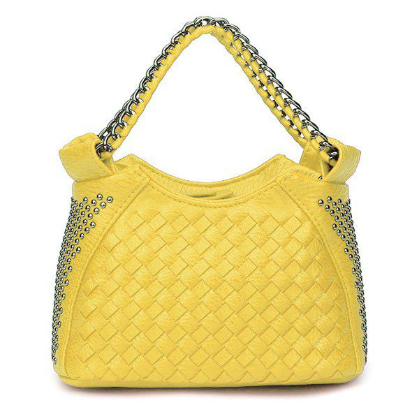 Best Chain Trimmed Rivet Woven Shoulder Bag