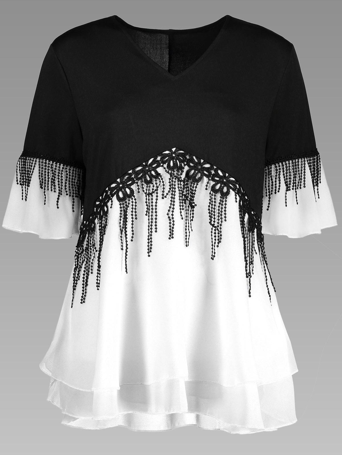 Plus Size Fringe Color Block TopWOMEN<br><br>Size: 2XL; Color: WHITE; Material: Polyester; Shirt Length: Regular; Sleeve Length: Half; Collar: V-Neck; Style: Fashion; Season: Spring,Summer; Pattern Type: Others; Placement Print: No; Weight: 0.3150kg; Package Contents: 1 x Top;