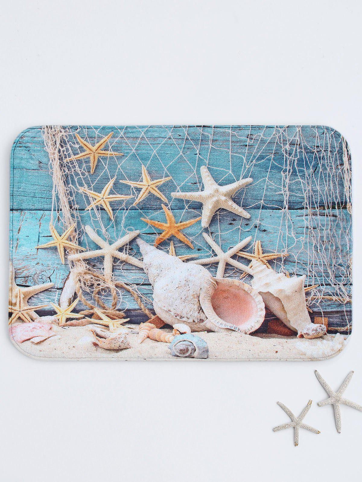 Starfish Print Absorbent Bath RugHOME<br><br>Size: W16 INCH * L24 INCH; Color: COLORMIX; Products Type: Bath rugs; Materials: Fleece,Sponge; Pattern: Print; Style: Beach Style; Shape: Rectangular; Package Contents: 1 x Bath Rug;