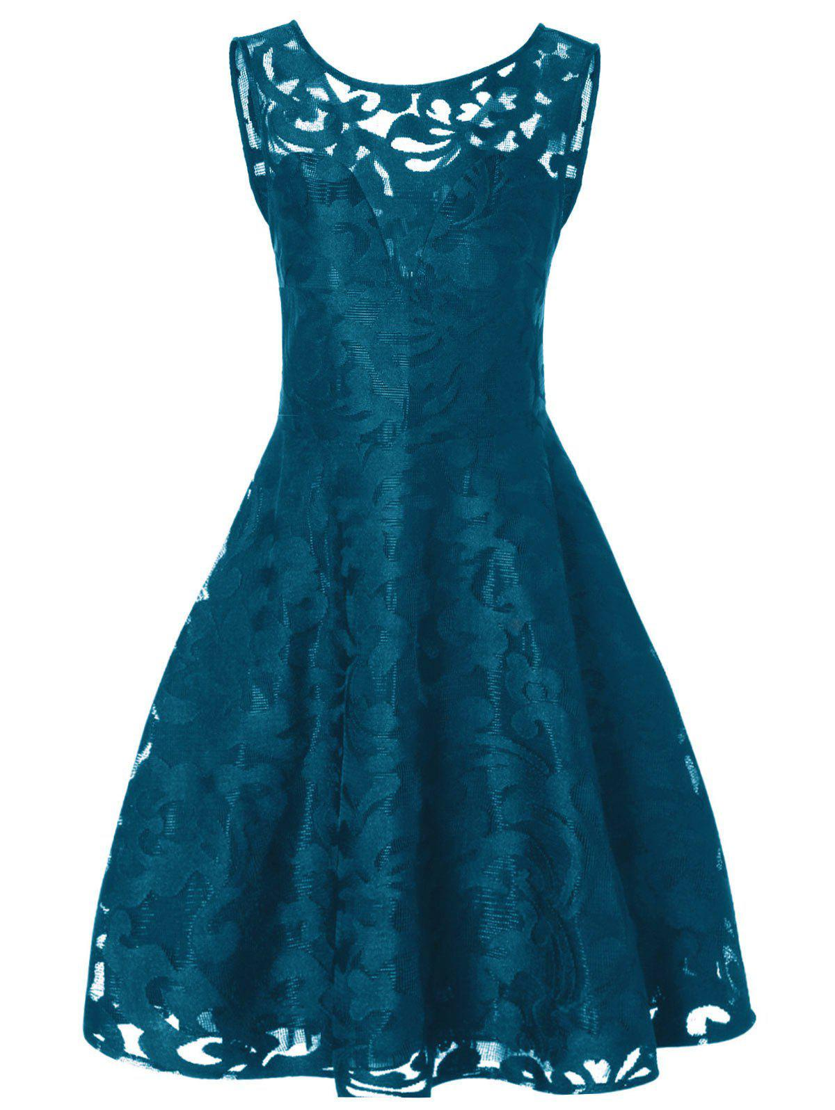Lace Plus Size Holiday Short Cocktail DressWOMEN<br><br>Size: XL; Color: PEACOCK BLUE; Style: Vintage; Material: Polyester; Silhouette: A-Line; Dresses Length: Mid-Calf; Neckline: Round Collar; Sleeve Length: Sleeveless; Pattern Type: Solid; With Belt: No; Season: Fall; Weight: 0.2570kg; Package Contents: 1 x Dress;