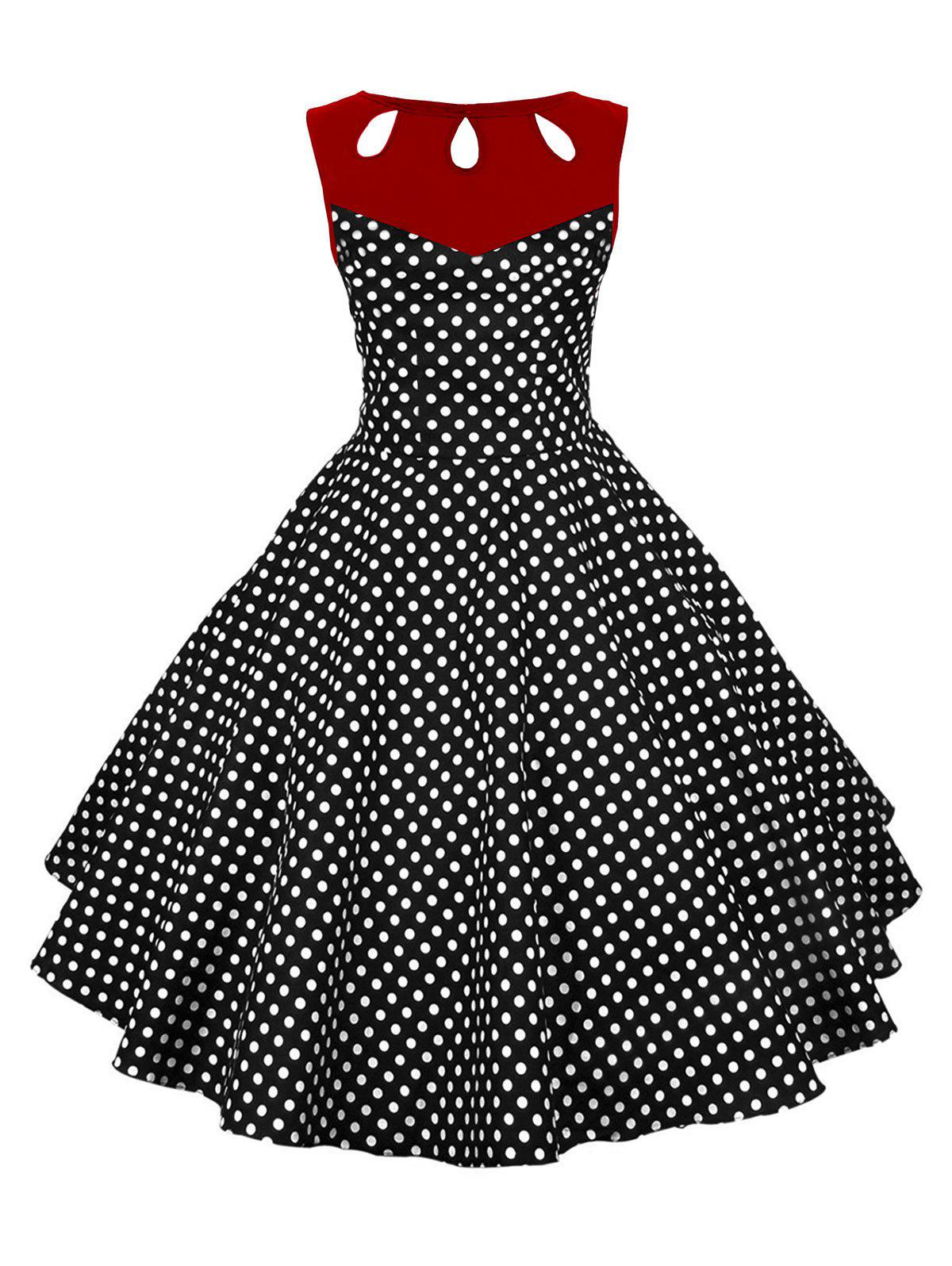 Affordable Pin Up Polka Dot Vintage Flare Dress