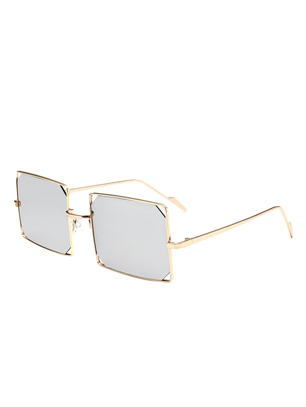 Shop Hollow Out Mirrored Lens Metal Rectangle Sunglasses