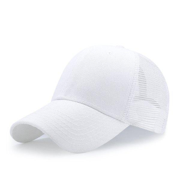 Breathable Mesh Insert Outdoor Baseball HatACCESSORIES<br><br>Color: WHITE; Hat Type: Baseball Caps; Group: Adult; Gender: For Men; Style: Active; Pattern Type: Solid; Material: Polyester; Circumference (CM): 56CM-60CM; Weight: 0.1200kg; Package Contents: 1 x Hat;
