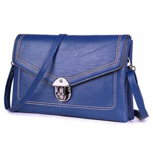 Metal Detail Envelope Clutch Bag - BLUE