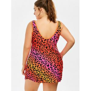 Plus Size Tank Leopard One Piece Swimsuit - RED 5XL
