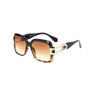 Hollow Cut Frame Oversize Gradient Lens Square Sunglasses - LEOPARD +GRADUAL DRAK BROWN