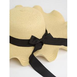 Bowknot Wave Shape Fedora Straw Hat - OFF WHITE ONE SIZE