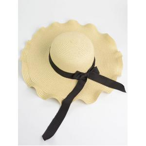 Bowknot Wave Shape Fedora Straw Hat