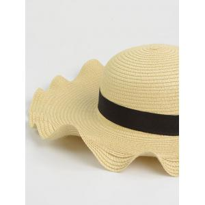 Bowknot Wave Shape Fedora Straw Hat - OFF-WHITE ONE SIZE