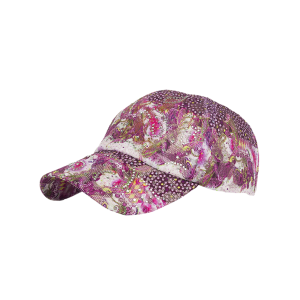 Floral Print Mesh  Rhinestone Decoration Baseball Cap - Purple - 2xl