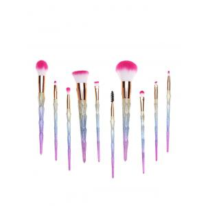 10 Pcs Glitter Rainbow Makeup Brushes Set -
