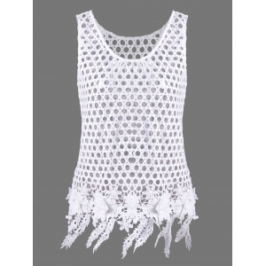 FFlower Applique Openwork See Through Tank Top