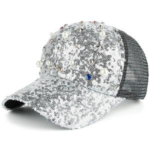 Star Faux Pearl Mesh Spliced Baseball Hat - Silver