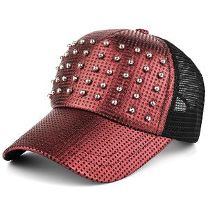 Sunscreen Rivet Mesh Baseball Hat - Red