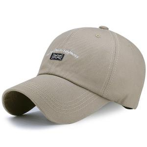 Letter Flag Embroidered Sunproof Baseball Hat - Dark Khaki - One Size