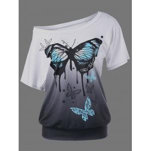 Butterfly Pattern Ombre T-Shirt - Black Grey - Xl