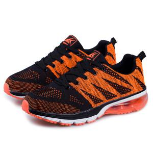 Breathable Color Block Athletic Sports Mesh Trainers - BLACK AND ORANGE 43