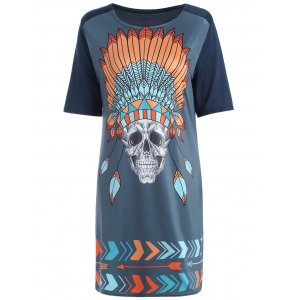 Tribal Skull Print Casual Shift T-Shirt Dress
