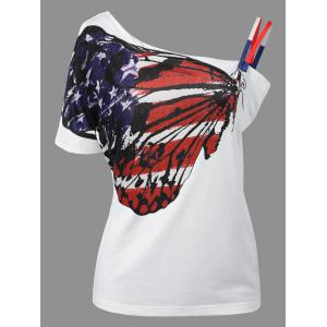 Skew Neck Patriotic American Flag Print Tee - White - 2xl