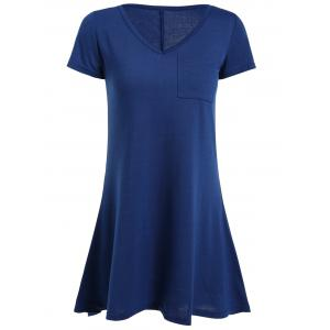 High Low Short Sleeve Mini Dress - Blue - S