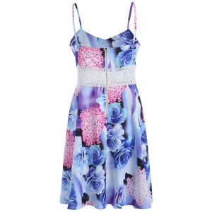 Lace Insert Backless Floral Slip Summer Dress - COLORMIX S