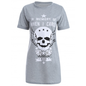 Skull Print Short Sleeve Shift T-Shirt Dress