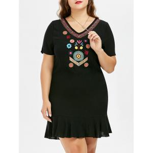 Plus Size Knee Length Embroidered Dress
