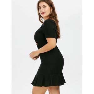 Plus Size Knee Length Embroidered Dress - BLACK 5XL