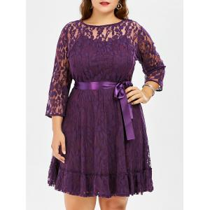 Lace Plus Size Skater Dress with Sleeves - Purple - 3xl