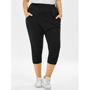 Plus Size Cropped Elastic Waist Pants - Black - One Size