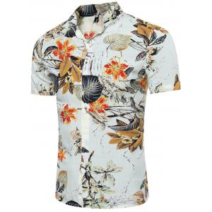 Breathable 3D Leave and Florals Print Shirt - L