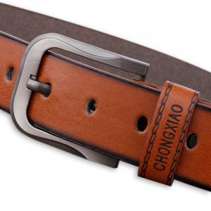 Sewing Thread Cowboy Style Wide Belt - BROWN