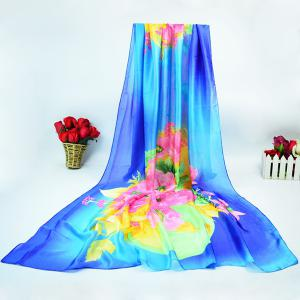 Flower Painting Satin Wrap Scarf
