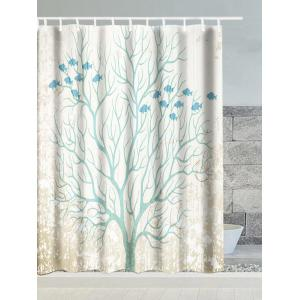 Tree Snow Fish Polyester Waterproof Shower Curtain - White - W71 Inch * L79 Inch