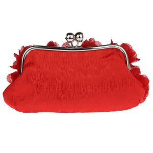 Kisslock Petal Satin Evening Bag - Rouge