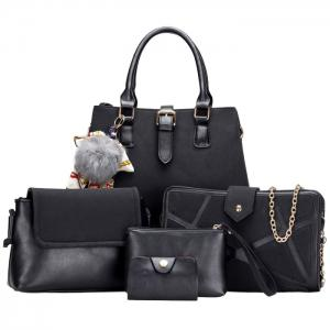 Pompon Scarf 5 Pieces Suede Handbag Set - Black - 4xl