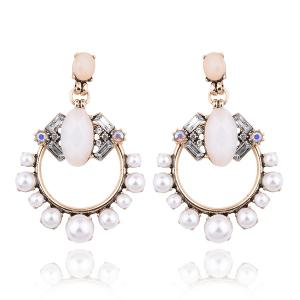 Artificial Opal Pearl Circle Drop Earrings
