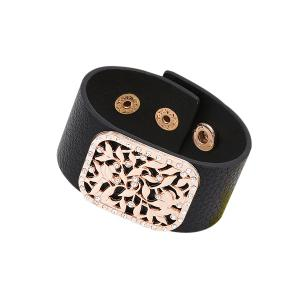 Faux Leather Rhinestone Alloy Flower Bracelet