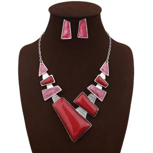 Artificial Gemstone Geometric Necklace and Earrings - Red
