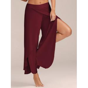Flowy Layered High Waisted Slit Palazzo Pants - Wine Red - 2xl