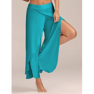 Flowy Layered High Waisted Slit Palazzo Pants - Blue - S