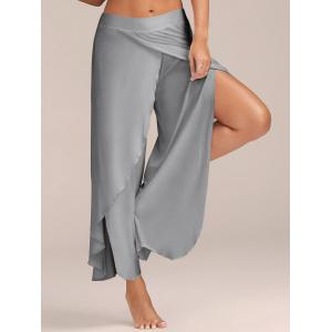 Flowy Layered High Waisted Slit Palazzo Pants - Light Grey - S