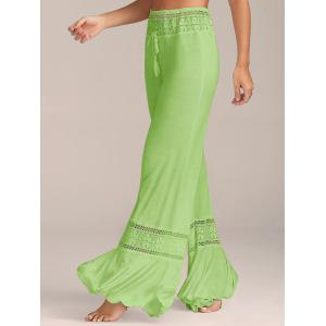 Lace Insert High Waisted Flowy Palazzo Pants - Green - L