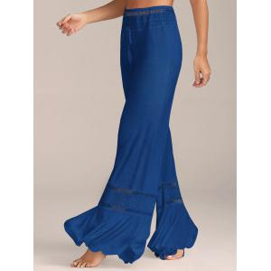 Lace Insert High Waisted Flowy Palazzo Pants - Blue - S
