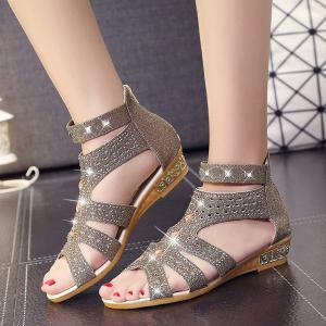Rivets Rhinestones Low Wedge Sandals - GOLDEN 37
