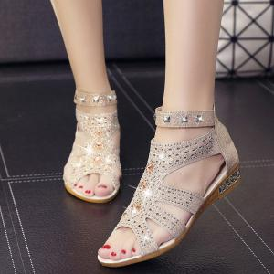 Rivets Rhinestones Low Wedge Sandals - APRICOT 39